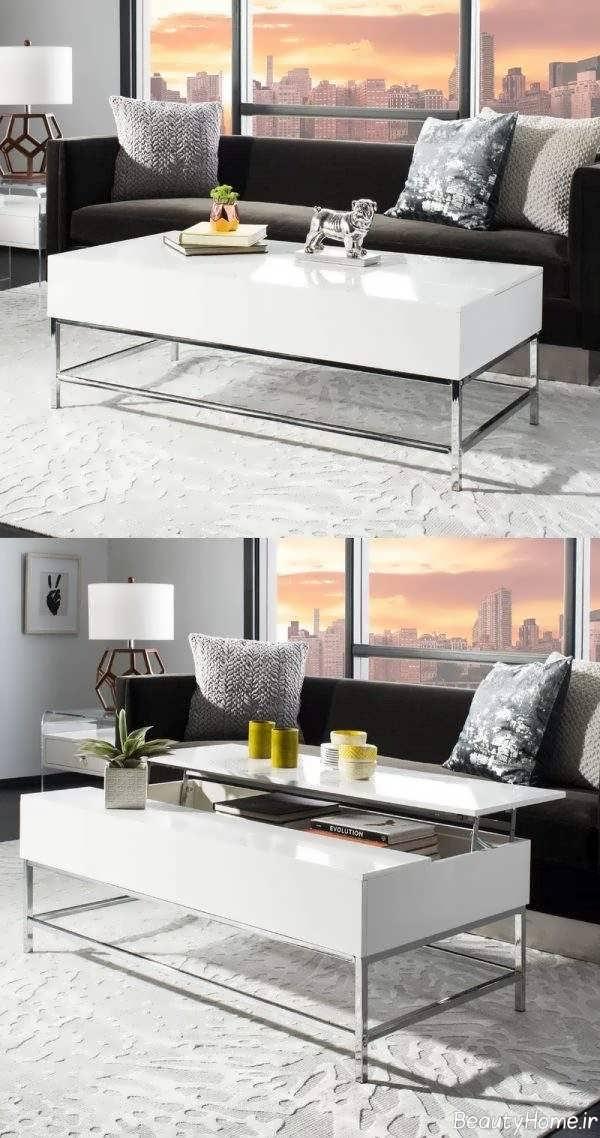 انواع مدلهای میز سفید جلو مبلی کاربردی